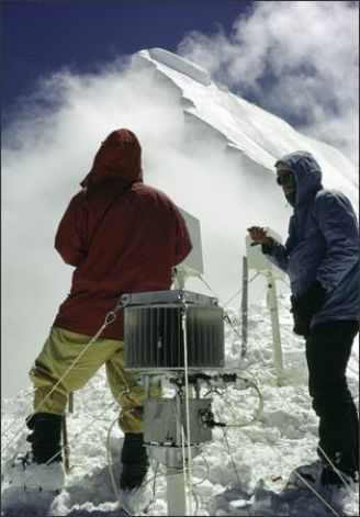 After numerous searches were unable to locate the lost device on Nanda Devi, Robert Schaller climbed in the Himalayas again to install a similar device on the neighboring peak of Nanda Kot. The device, like the lost one, contains plutonium fuel cells to power its transceiver. (Photo Courtesy Of Robert T. Schaller, M.D. / SL)