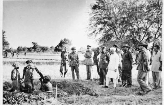Jawaharlal Nehru inspects preparations for the 1962 war with China at an unknown location