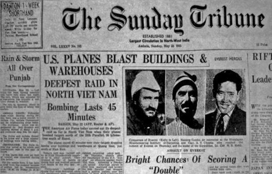 The front page of The Sunday Tribune on 23 May 1965, which announced Kohli's triumph on Mount Everest alongside the latest grim news from the war in Vietnam